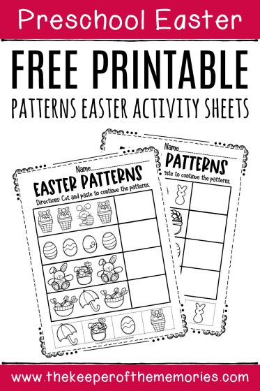 Free Printable Easter Patterns Preschool Worksheets with text: Preschool Easter Free Printable Patterns Easter Activity Sheets