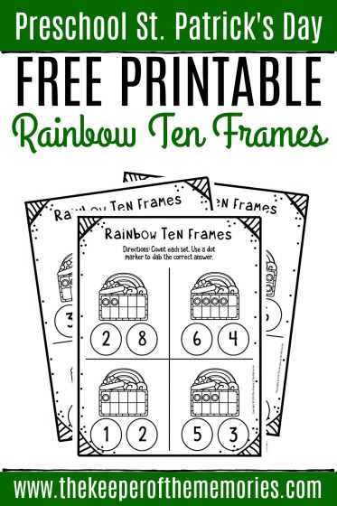 Free Rainbow Printable Ten Frame Worksheets with text: Preschool St. Patrick's Day Free Printable Rainbow Ten Frames