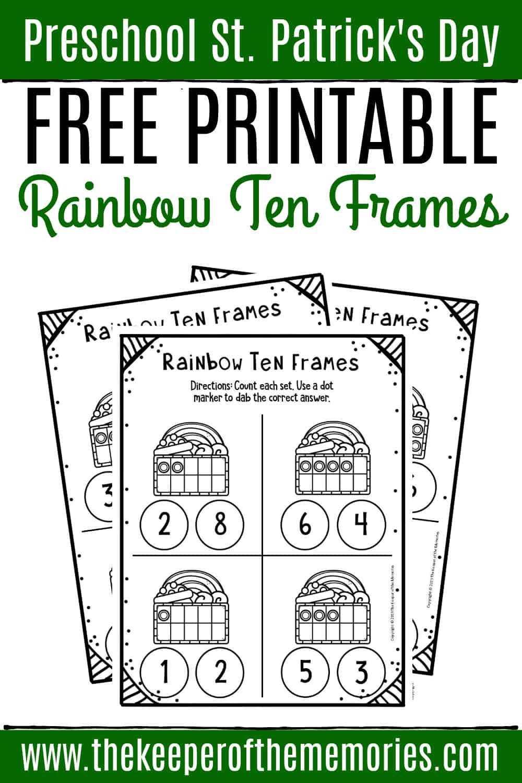 Free Rainbow Printable Ten Frame Worksheets