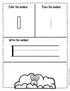 Numbers Easter Preschool Worksheets 1