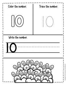 Numbers Easter Preschool Worksheets 10