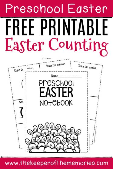 Numbers Easter Preschool Worksheets Counting Notebook with text: Preschool Easter Free Printable Easter Counting