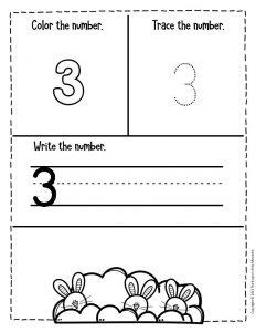 Numbers Easter Preschool Worksheets 3