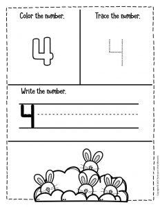 Numbers Easter Preschool Worksheets 4