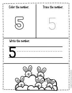 Numbers Easter Preschool Worksheets 5