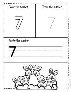 Numbers Easter Preschool Worksheets 7