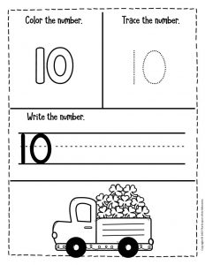 Numbers St. Patrick's Day Preschool Worksheets 10