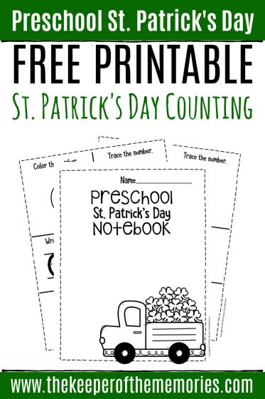 Numbers St. Patrick's Day Preschool Worksheets Counting Notebook