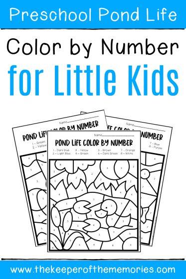 Pond Color by Number Preschool Worksheets with text: Preschool Pond Life Color by Number for Little Kids
