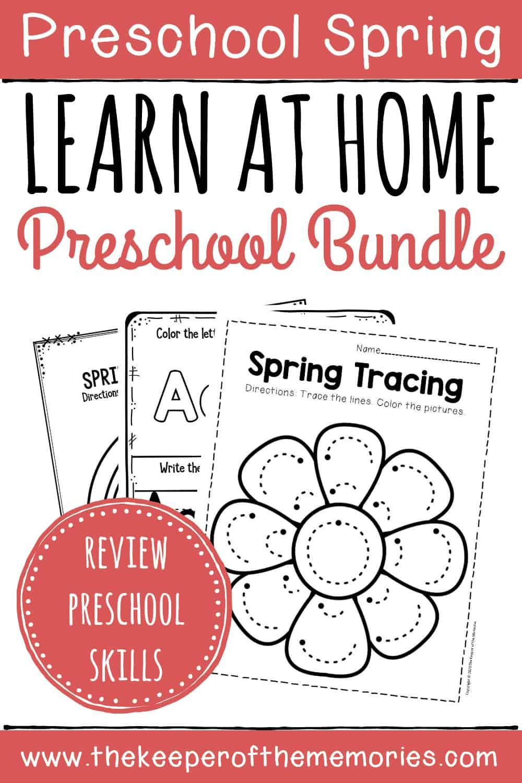 Spring Preschool Learn at Home Bundle