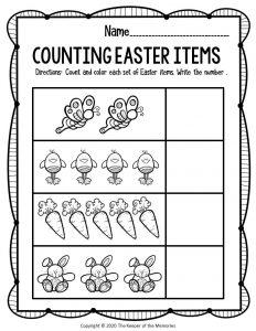 Preschool Math Printable Easter Activities Butterflies Chicks Carrots Bunnies