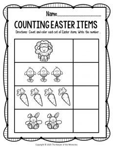 Preschool Math Printable Easter Activities Lambs Chicks Carrots Bunnies