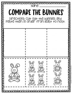 Preschool Measuring Free Printable Easter Activities Least to Most