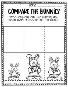 Preschool Measuring Free Printable Easter Activities Shortest to Tallest
