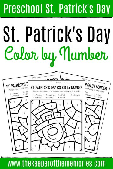 Printable Color by Number St. Patrick's Day Preschool Worksheets