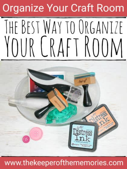 clear dish containing scrapbooking supplies with text overlay: The Best Way to Organize Your Craft Room