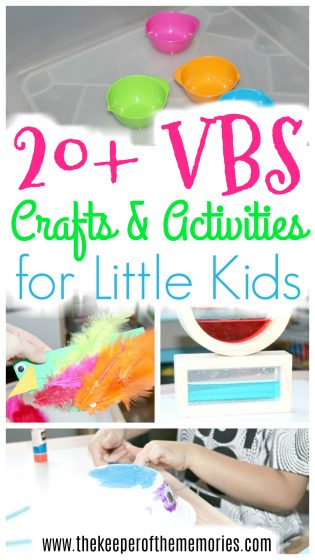 collage of bible crafts and activities with text: 20+ VBS Crafts & Activities for Little Kids