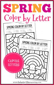 Color by Capital Letter Spring Preschool Worksheets