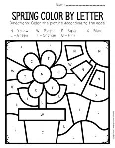 Color by Capital Letter Spring Preschool Worksheets Flower