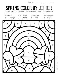 Color by Capital Letter Spring Preschool Worksheets Rainbow