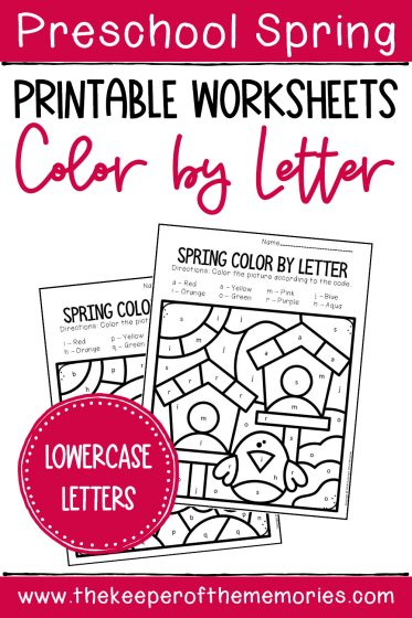 Color by Lowercase Letter Spring Preschool Worksheets with text: Preschool Spring Printable Worksheets Color by Letter Lowercase Letters