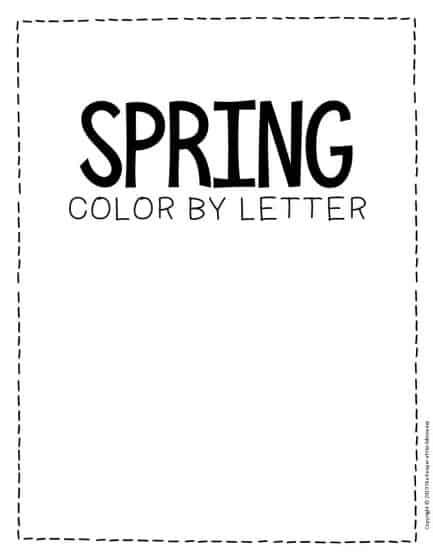 Color by Lowercase Letter Spring Preschool Worksheet