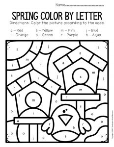 Color by Lowercase Letter Spring Preschool Worksheets Birdhouses