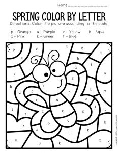 Color by Lowercase Letter Spring Preschool Worksheets Butterfly