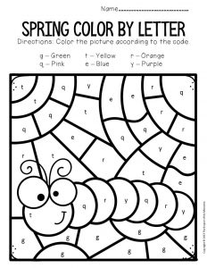 Color by Lowercase Letter Spring Preschool Worksheets Caterpillar