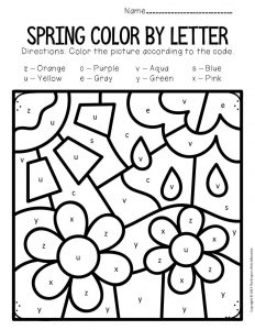 Color by Lowercase Letter Spring Preschool Worksheets Flowers Showers