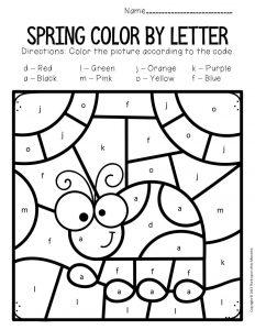 Color by Lowercase Letter Spring Preschool Worksheets Ladybug