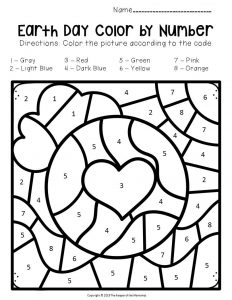 Color by Number Earth Day Preschool Worksheets Earth with Heart