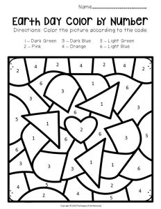 Color by Number Earth Day Preschool Worksheets Recycling Symbol