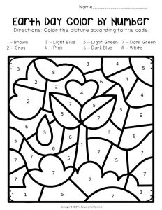 Color by Number Earth Day Preschool Worksheets Seedling