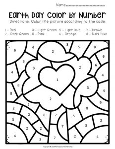 Color by Number Earth Day Preschool Worksheets Tree with Heart