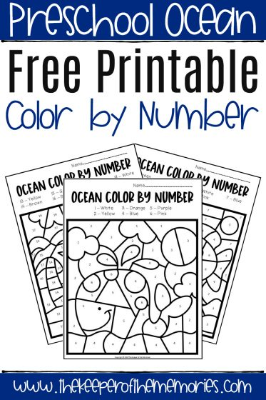 Ocean Color by Number Worksheets with text: Preschool Ocean Free Printable Ocean Color by Number
