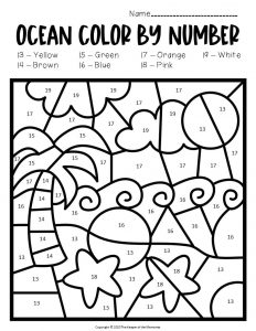 Color by Number Ocean Preschool Worksheets Beach