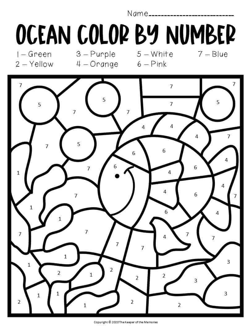Color by Number Ocean Preschool Worksheets Under the Sea ...