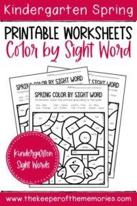 Color by Sight Word Spring Kindergarten Worksheets with text: Kindergarten Spring Printable Worksheets Color by Sight Word Kindergarten Sight Words
