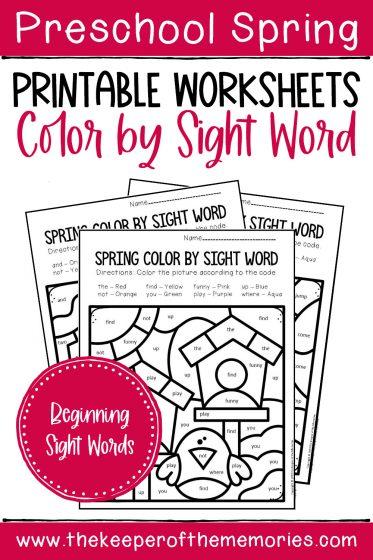 Color by Sight Word Spring Preschool Worksheets with text: Preschool Spring Printable Worksheets Color by Sight Word Beginning Sight Words