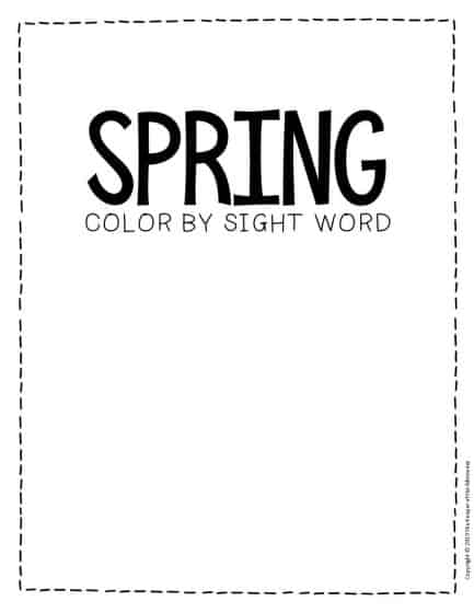 Color by Sight Word Spring Preschool Worksheets