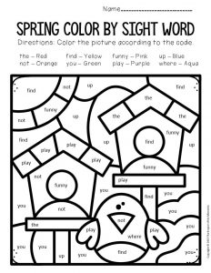 Color by Sight Word Spring Preschool Worksheets Birdhouses