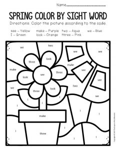 Color by Sight Word Spring Preschool Worksheets Flower