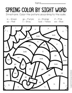 Color by Sight Word Spring Preschool Worksheets Umbrella