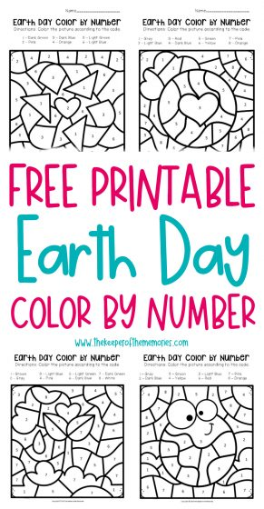 Color by number Earth Day Preschool Worksheets
