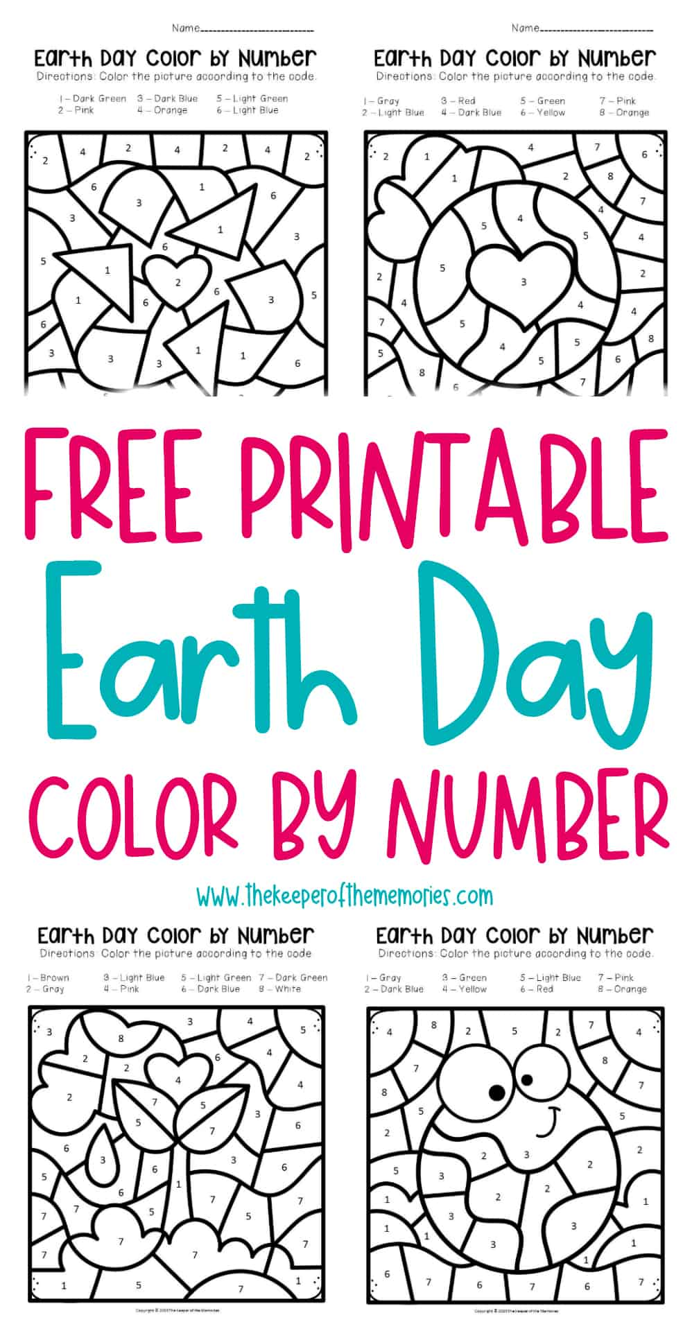 Free Printable Color by Number Earth Day Preschool ...