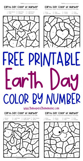 Free Printable Color by Number Earth Day Preschool Worksheets