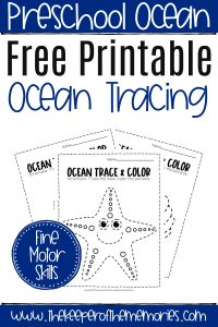 Free Printable Ocean Tracing Worksheets with text overlay: Preschool Ocean Free Printable Ocean Tracing Fine Motor Skills