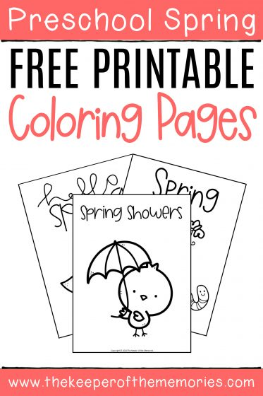 Free Printable Spring Coloring Pages with text: Preschool Spring Free Printable Coloring Pages