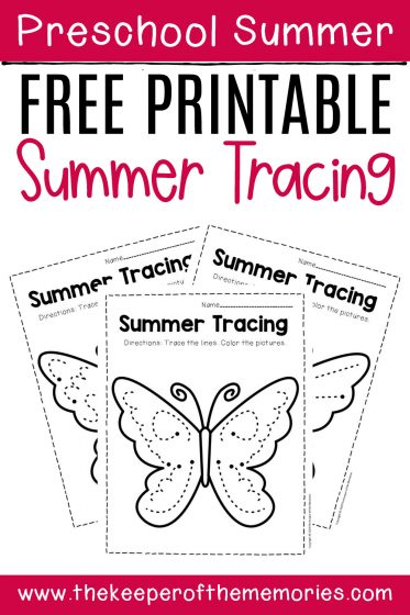 Free Printable Tracing Summer Preschool Worksheets